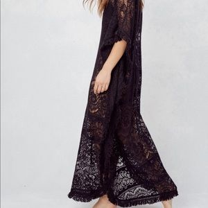 Lovestitch black lace caftan tunic beach swim
